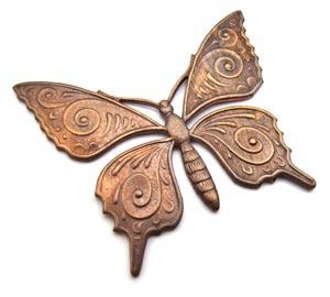 Vintaj Natural Brass 36x30mm Butterfly Pendant x1