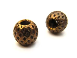 Vintaj Natural Brass 5mm Round Dimpled Bead x1
