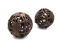 Vintaj Natural Brass 14mm Round Filigree Bead ~ Wrap x1
