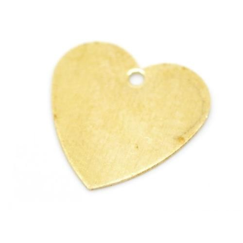 Brass Heart 26ga Stamping Blank 12.5mm Charms x10