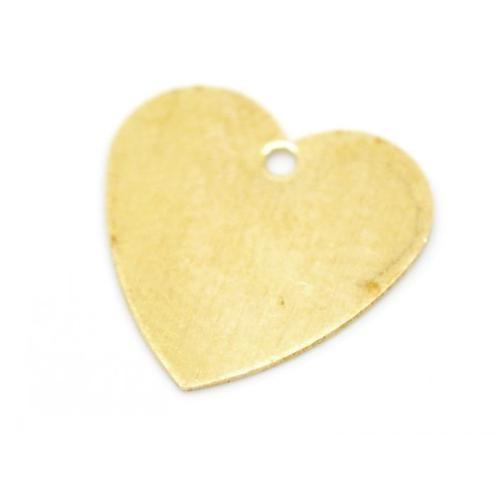 Brass Heart 26ga Stamping Blank 12.5mm Charms x10