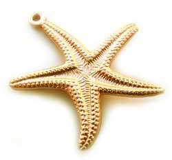 Raw Brass 20mm Starfish Double-sided Charm Pendant x1