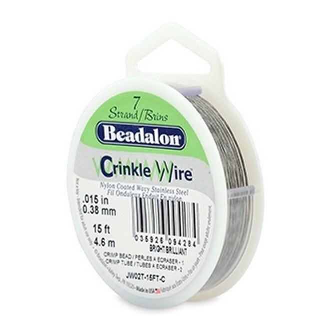 Beadalon Stringing Wire 7 Strands .015 (.38mm) 15 ft/4.6m Crinkle Bright
