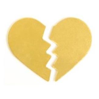 Brass Broken Heart 30x24.5mm 24g Stamping Blank x1