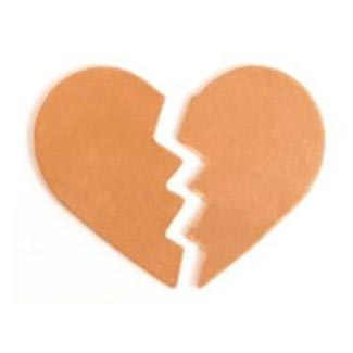 Copper Broken Heart 30x24.5mm 24g Stamping Blank x1