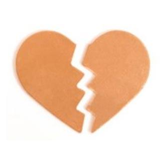 Copper Broken Heart 30x24.5mm 24g Stamping Blank x1