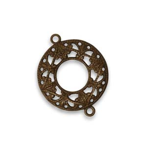 Vintaj Natural Brass 17mm Filigree Ring Connector x1