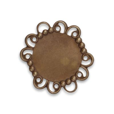 Vintaj Natural Brass 29x25mm Rococo Mirror