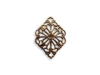 Vintaj Natural Brass 15x21mm Diamond Filigree - Wrap x1