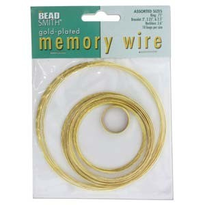 Beadsmith Memory Wire Assortment Bright Gold Plated (10 loops per 5 sizes)
