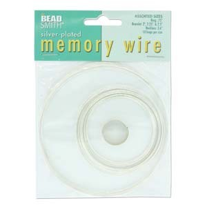 Beadsmith Memory Wire Assortment Bright Silver Plated (10 loops per 5 sizes)