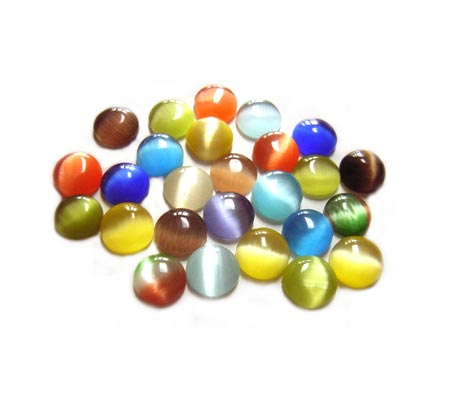 Cabochon - Cats Eye/Fibre Optic 6mm Round Soup Mix x24