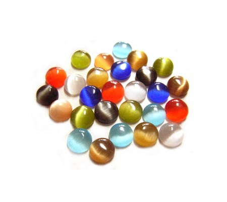 Cabochon - Cats Eye/Fibre Optic 5mm Round Soup Mix x24
