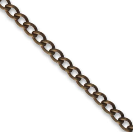 Vintaj Natural Brass 3.3mm Curb Chain (open link) per half foot