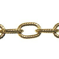 Trinity Brass Antique Gold 6x4.5mm Medium Etched Cable Chain (open link) per x1ft - 30cm