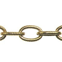 Trinity Brass Antique Gold 9.5x6mm Large Etched Cable Chain (open link) per x1ft - 30cm