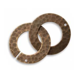 Vintaj Natural Brass 32x22mm Hammered Ring Clasp Set x1
