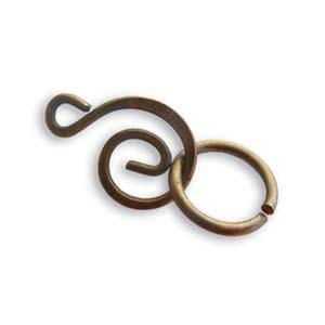 Vintaj Natural Brass 21x9mm Swirl Clasp x1