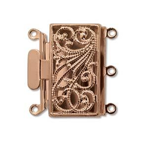 13x22mm 3-Strand Copper Plated Filigree Pearl Clasp x1
