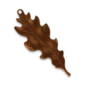 Vintaj Aristan Copper 39.5x15mm Taliesin Leaf Pendant x1