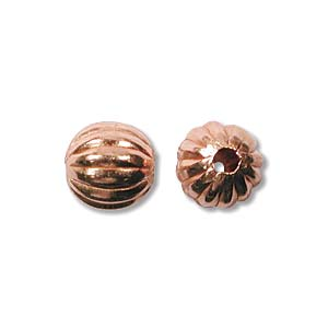 Pure 100% Copper 6mm Round Corrugated Beads x10