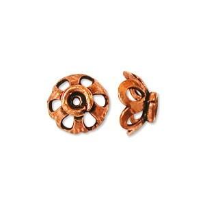 Pure Copper Bali Style 7mm Bead Caps (Scalloped) x10