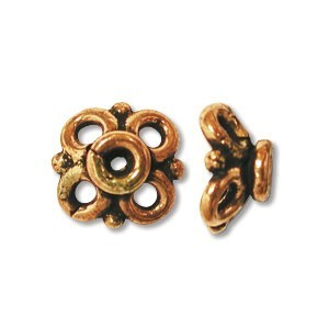 Pure Copper Bali Style 10mm Bead Cap x1