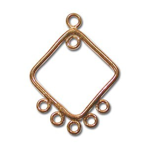 Pure 100% COPPER 29x21mm Antiqued 5-Strand Chandelier Pendant x1