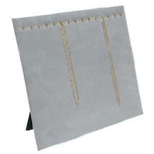 "Necklace Chain Pad Easel Display 15x12"" - Landscape Grey Velvet"
