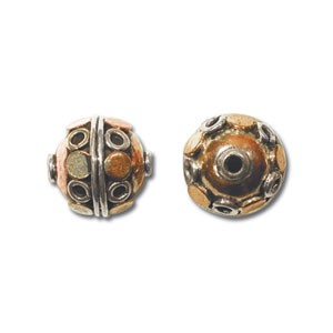 Pure 100% Copper and Sterling Silver 10mm Round Bead x1