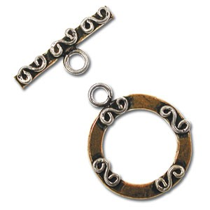 Pure 100% Copper and Sterling Silver Flattened Toggle x1