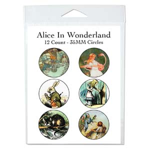 Collage Sheet - 35mm Circles Alice in Wonderland