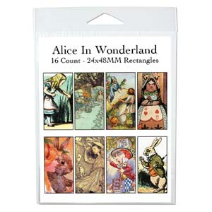 Collage Sheet - 24x48mm Rectangles Alice in Wonderland