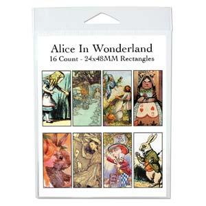 Collage Sheet - 24x48mm Rectangles Alice in Wonderland