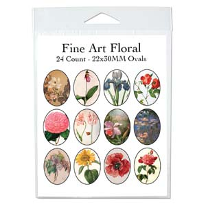 Collage Sheet - 22x33mm Oval Flowers in Art