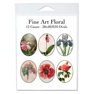 Collage Sheet - 30x40mm Oval Flowers in Art