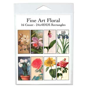 Collage Sheet - 24x48mm Squares Flowers in Art