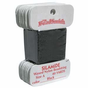 Silamide Waxed Nylon Beading Thread - Black 40 yds