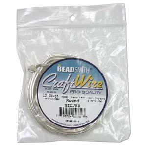 Beadsmith Jewellery Wire 16ga Silver per 30ft Coil