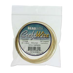 Beadsmith Jewellery Wire 16ga Bare Gold Brass per 5yd Coil