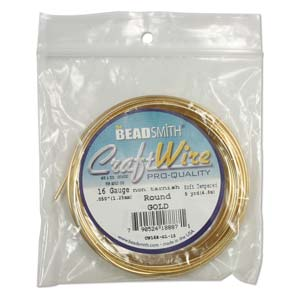 Beadsmith Jewellery Wire 12ga Gold per 5ft Spool