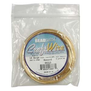 Beadsmith Jewellery Wire 12ga Gold per 5ft Spool