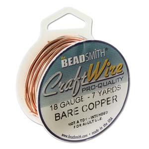 Beadsmith Jewellery Wire 18ga Natural Copper per 7yd Spool