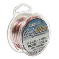 Beadsmith Wire 18ga Rose Gold per 4yd Spool