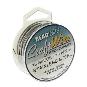 Beadsmith Jewellery Wire 18ga Stainless Steel per 7yd Spool