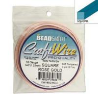 Beadsmith Square Jewellery Wire 18ga Rose Gold per 4yd Coil