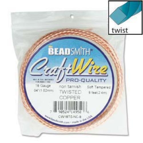 Beadsmith Square Twist Wire 18ga Natural Copper per 8ft Coil