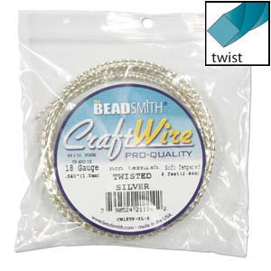 Beadsmith Square Twist Wire 18ga Silver per 8ft Coil