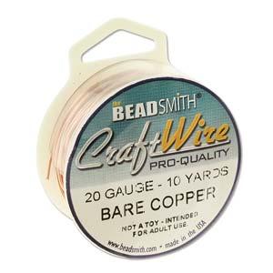 Beadsmith Jewellery Wire 20ga Bare Copper per 10yd Spool