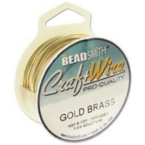 Beadsmith Jewellery Wire 24ga Bare Gold Brass per 20yd Spool